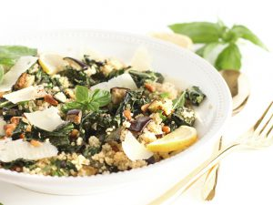 SilverSneakers Roasted Kale and Eggplant Quinoa Salad