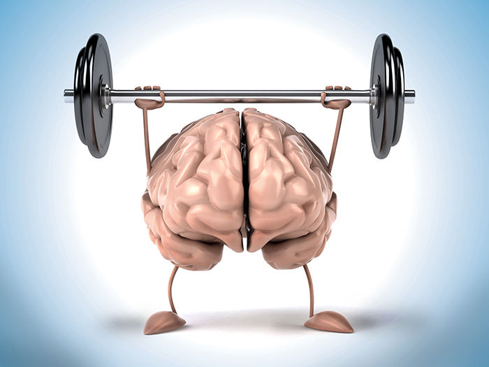 Illustration of brain lifting weight