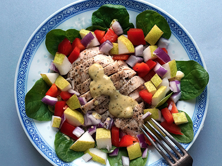 weight loss recipes: The 7-Minute Chicken and Pear Salad